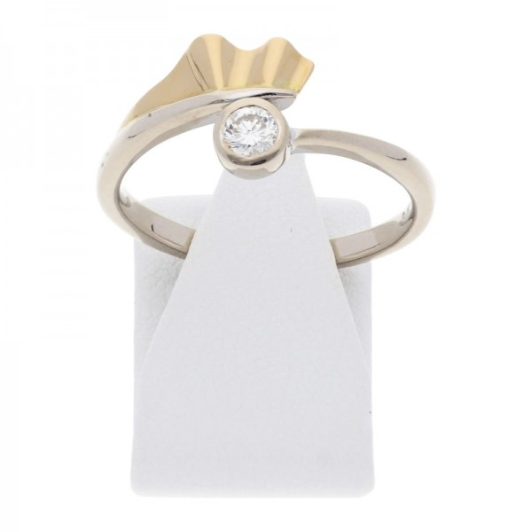 Solitär Diamant Ring 0,20 ct si 750 Bicolor Gold