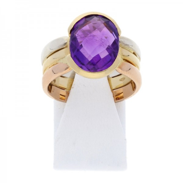 Amethyst Ring 750 Tricolor Gold