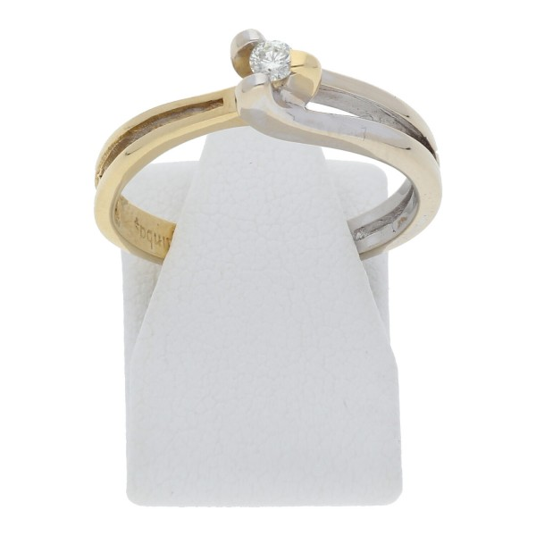 Solitär Diamant Ring 0,08 ct 750 Bicolor Gold
