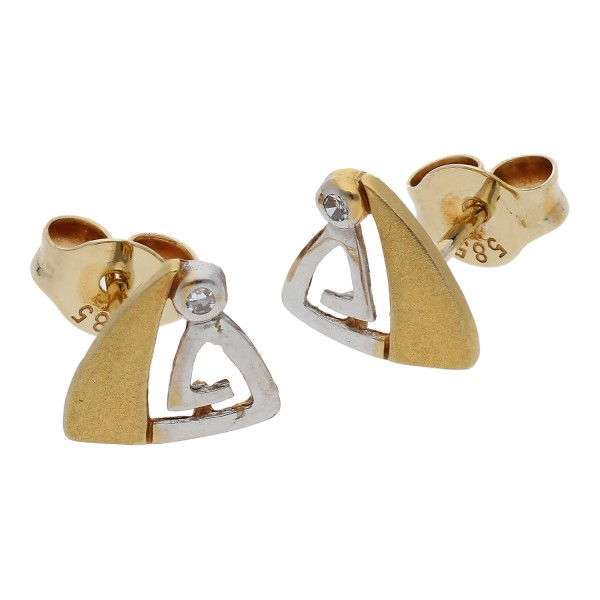 Diamant Ohrstecker 0,02 ct 585 Bicolor Gold