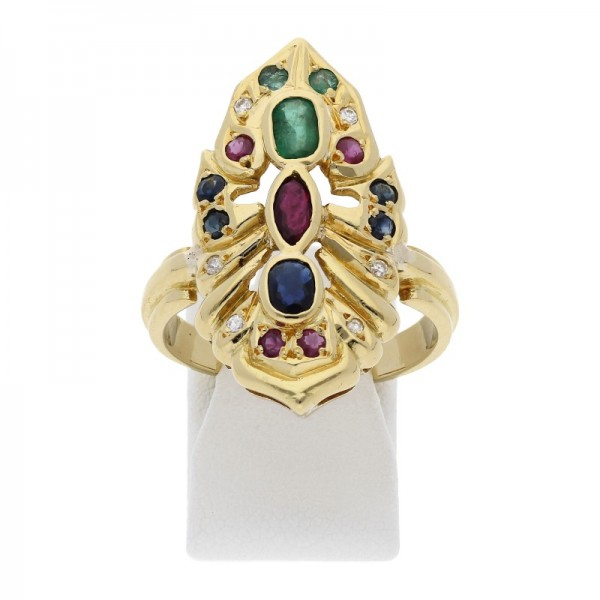 Rubin Saphir Smaragd Diamant Ring 750 Gold