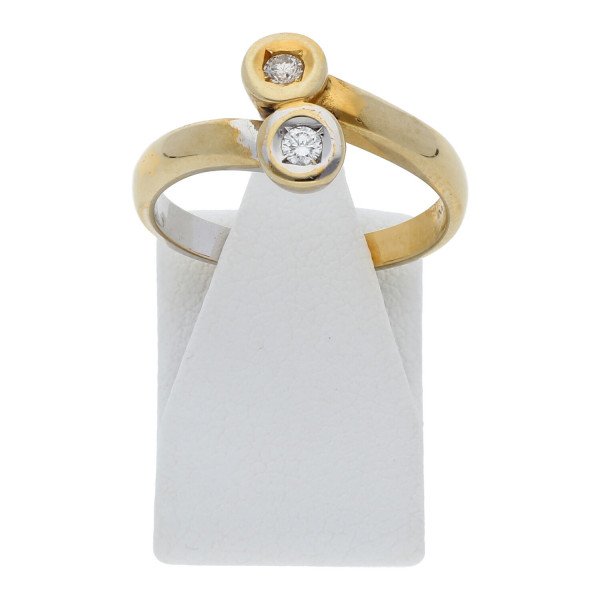 Fabiani Diamant Brillant Ring 0,15 ct 333 Bicolor Gold