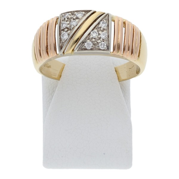 Brillant Ring 750 Tricolor Gold 18K