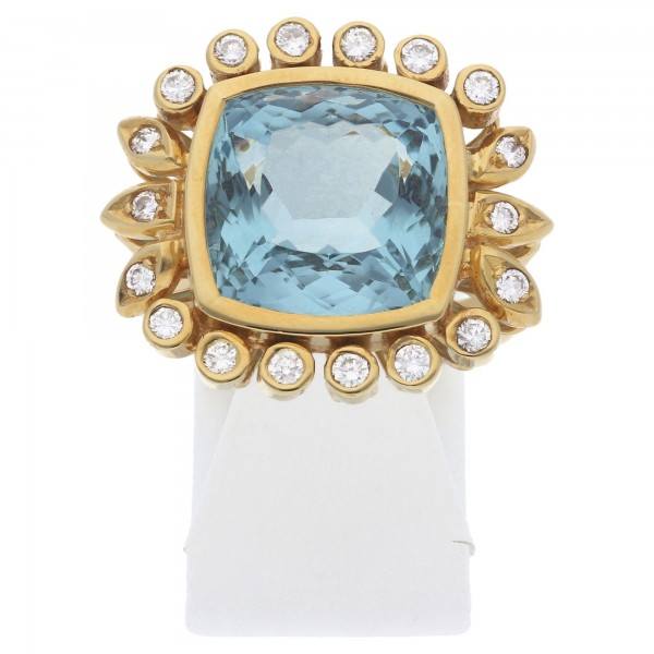 Aquamarin Diamant Ring 750 Gold Wert ca. 5850,-*