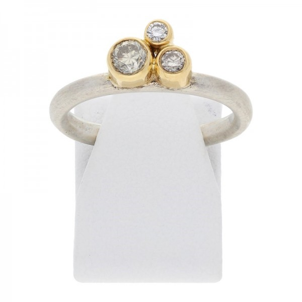 Diamant Brillant Ring 0,30 ct 925 Sterling Silber Gold
