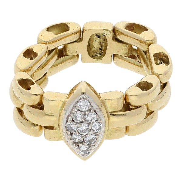 Diamant Brillant Ketten Ring 0,18 ct 750 Gold