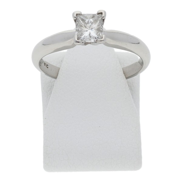Solitär Diamant Ring Prinzess Cut 0,50 ct vs 950 Platin