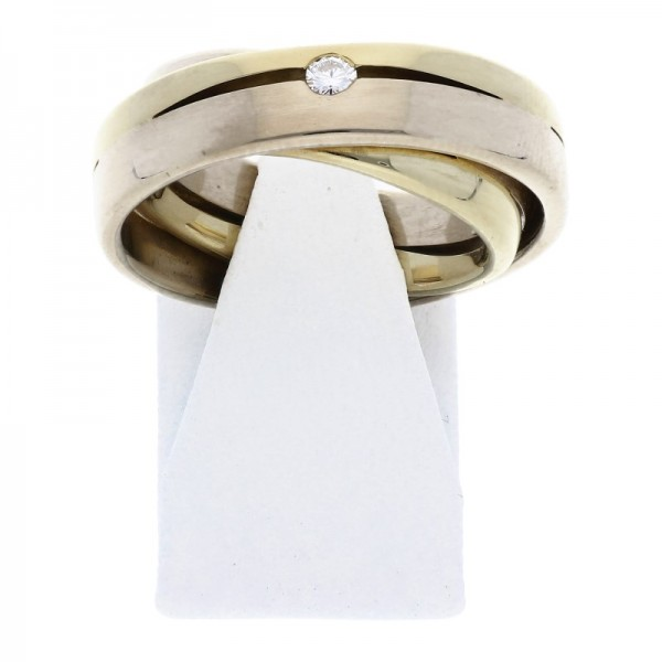 Diamant Dreier Ring 0,06 ct 585 Bicolor Gold