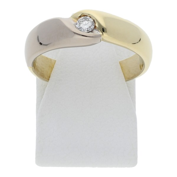 Solitär Diamant Ring 0,10 ct 585 Bicolor Gold