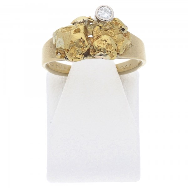 Diamant Brillant Ring 0,05 ct Nugget Form 750 Gold