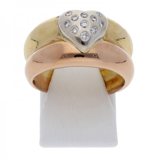 Breiter Bicolor Diamant Herz Ring 0,20 ct 750 Gold