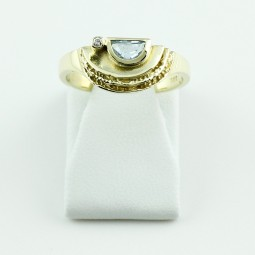 Aquamarin Diamant Ring 750 Gelbgold